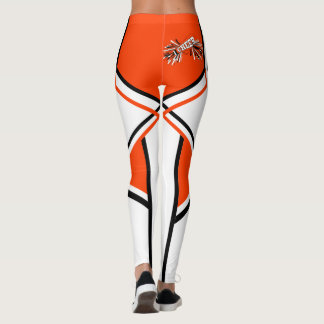 Orange, White and Black Cheerleader Megaphone Leggings