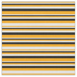 [ Thumbnail: Orange, White, and Black Colored Striped Pattern Fabric ]