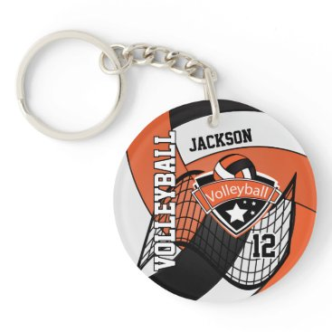 USA Themed Orange, White and Black Personalize Volleyball Keychain