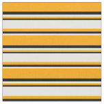 [ Thumbnail: Orange, White, and Black Striped/Lined Pattern Fabric ]