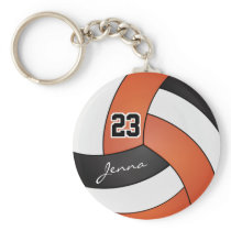 Orange, White and Black Volleyball - Customize Keychain