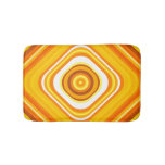 [ Thumbnail: Orange, White and Yellow Sunset-Inspired Pattern Bath Mat ]