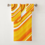 [ Thumbnail: Orange, White and Yellow Sunset-Inspired Pattern Bath Towel Set ]