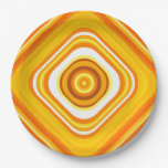 [ Thumbnail: Orange, White and Yellow Sunset-Inspired Pattern Paper Plate ]