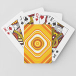 [ Thumbnail: Orange, White and Yellow Sunset-Inspired Pattern Playing Cards ]