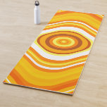 [ Thumbnail: Orange, White and Yellow Sunset-Inspired Pattern Yoga Mat ]
