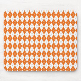 Orange & White Argyle Mouse Pad