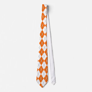Orange & White Argyle Neck Tie