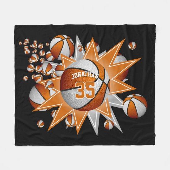 orange white basketball blowout boys girls sports fleece blanket