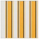 [ Thumbnail: Orange, White & Black Colored Lines Pattern Fabric ]