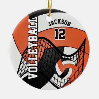 Orange, White & Black Personalize Volleyball Ceramic Ornament
