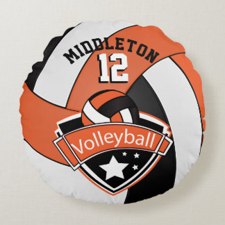Orange, White & Black Personalize Volleyball Round Pillow