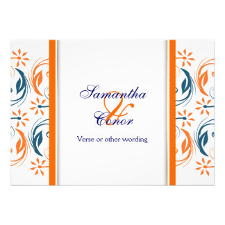 Orange white blue wedding anniversary personalized announcement