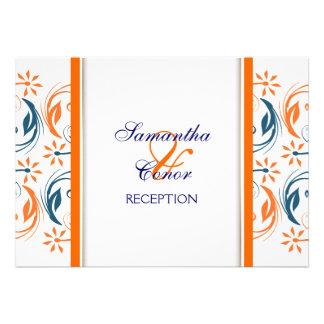 Orange white blue wedding anniversary invites