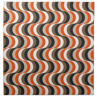 Orange, White, Brown Retro Fifties Abstract Art Cloth Napkin