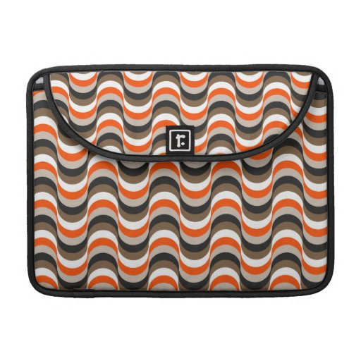 Orange, White, Brown Retro Fifties Abstract Art MacBook Pro Sleeves