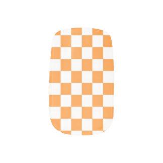 Orange White Checker Pattern Nail Coverings Minx® Nail Wraps