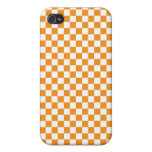 Orange & White Checkerboard Covers For iPhone 4