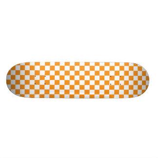 Orange & White Checkerboard Skateboard