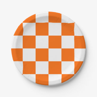 Orange/White Checkered Paper Plate