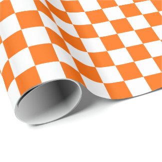Orange/White Checkered Wrapping Paper