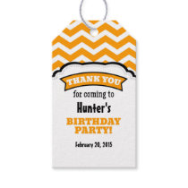 Orange White Chevron Birthday Thank You Tags