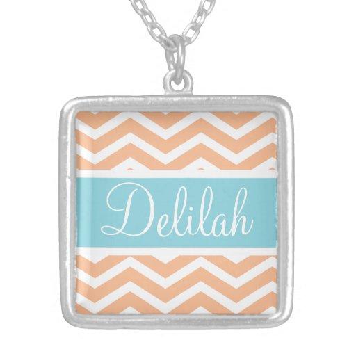 Orange White Chevron Blue Name Necklace