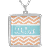 Orange White Chevron Blue Name Silver Plated Necklace