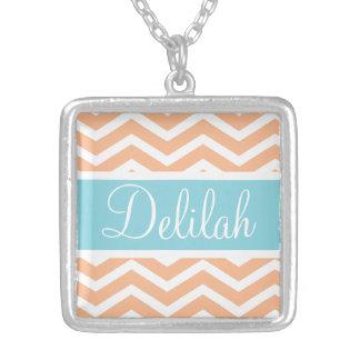 Orange White Chevron Blue Name Square Pendant Necklace