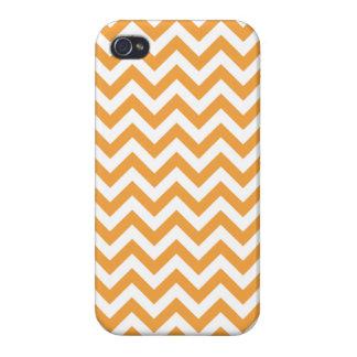 Orange White Chevron Pattern iPhone 4 Covers