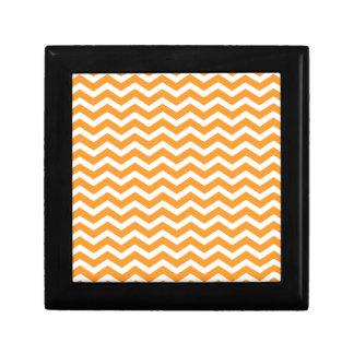 Orange White Chevron Pattern Jewelry Box