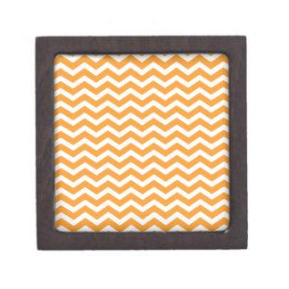 Orange White Chevron Pattern Keepsake Box