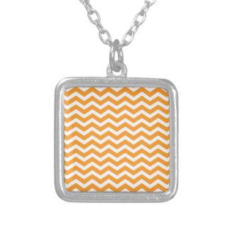 Orange White Chevron Pattern Square Pendant Necklace