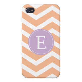 Orange White Chevron Purple Monogram iPhone 4/4S Cases