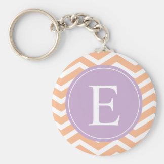 Orange White Chevron Purple Monogram Keychain