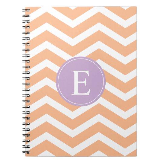 Orange White Chevron Purple Monogram Notebook