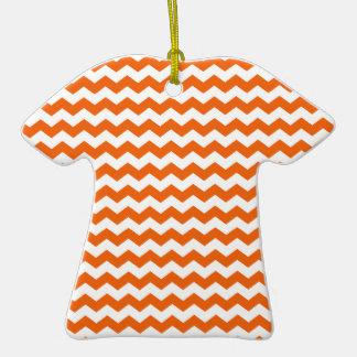 orange  white chevrons Double-Sided T-Shirt ceramic christmas ornament