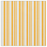 [ Thumbnail: Orange & White Colored Lines/Stripes Pattern Fabric ]
