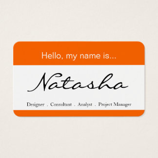 Orange & White Corporate Name Tag - Business Card