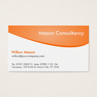 Orange & White Curved, Professional Business Card
