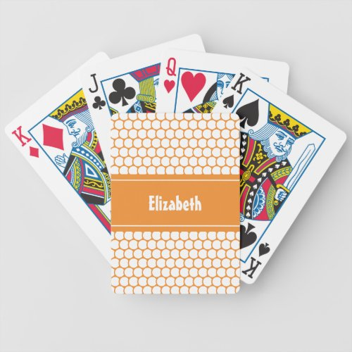 Orange  White Custom Personalized Name Geometric Bicycle Playing Cards