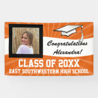 Orange White Custom Photo Graduation Sign