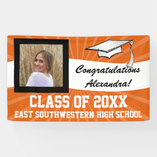 Orange White Custom Photo Graduation Sign Banner