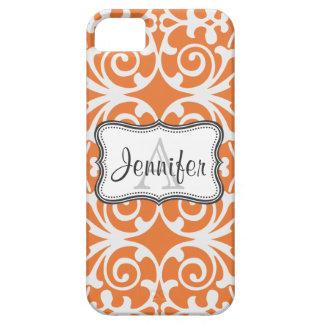 Orange & White Damask Monogram iPhone 5 iPhone SE/5/5s Case