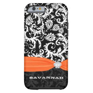 Orange White Damask Printed Faux Rhinestone iPhone 6 Case