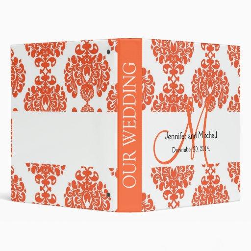 Orange White Damask Wedding Planner Binders