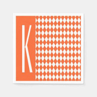 Orange & White Diamonds, Diamond Paper Napkin