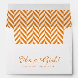 Orange White Due Date Baby Shower Envelopes