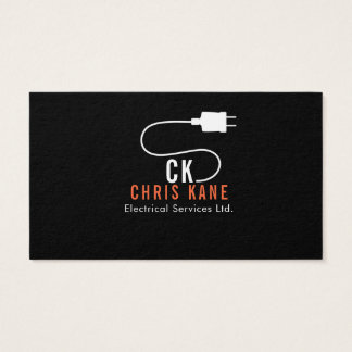 Orange & white electrician logo design business card