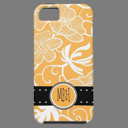 Orange & White Floral Pattern with Initials iPhone 5 Cover